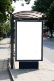 Bus shelter. This is for advertisers to place ad copy samples on a bus shelter stock image