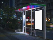 Bus shelter Banner template Media advertising at Night. Bus shelter Billboard Banner template Media advertising outdoor street Sign display at Night stock photos