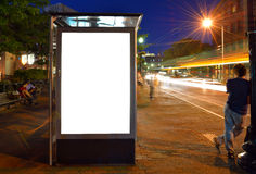 Bus Shelter Billboard. At night stock image