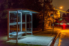 Bus shelter at night Stock Photo