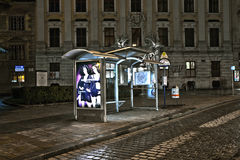 Bus Shelter by Night in Vienna, Austria Stock Images