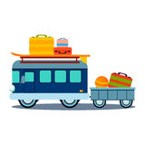 Bus Side View With Heap Of Luggage Vector Royalty Free Stock Images