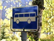 Bus sign. Blue bus sign royalty free stock images