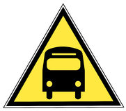 Bus sign. Yellow triangle sign with a bus - transportation concept Royalty Free Stock Photo