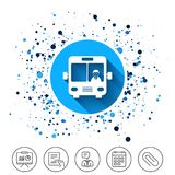 Bus sign icon. Public transport symbol. Button on circles background. Bus sign icon. Public transport with driver symbol. Calendar line icon. And more line Royalty Free Stock Images