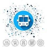 Bus sign icon. Public transport symbol. Button on circles background. Bus sign icon. Public transport symbol. Calendar line icon. And more line signs. Random Royalty Free Stock Image