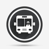Bus sign icon. Public transport symbol. Bus sign icon. Public transport with driver symbol. Circle flat button with shadow and border. Vector Stock Image