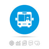 Bus sign icon. Public transport symbol. Bus sign icon. Public transport with driver symbol. Copy files, chat speech bubble and chart web icons. Vector Stock Image