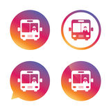 Bus sign icon. Public transport symbol. Bus sign icon. Public transport with driver symbol. Gradient buttons with flat icon. Speech bubble sign. Vector Royalty Free Stock Photography
