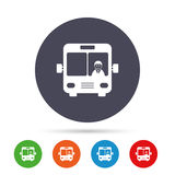 Bus sign icon. Public transport symbol. Bus sign icon. Public transport with driver symbol. Round colourful buttons with flat icons. Vector Stock Photos