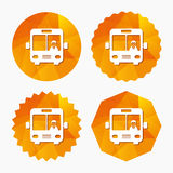 Bus sign icon. Public transport symbol. Bus sign icon. Public transport with driver symbol. Triangular low poly buttons with flat icon. Vector Royalty Free Stock Photo