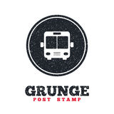 Bus sign icon. Public transport symbol. Grunge post stamp. Circle banner or label. Bus sign icon. Public transport symbol. Dirty textured web button. Vector Stock Images