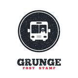 Bus sign icon. Public transport symbol. Grunge post stamp. Circle banner or label. Bus sign icon. Public transport with driver symbol. Dirty textured web button Royalty Free Stock Image