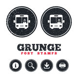 Bus sign icon. Public transport symbol. Grunge post stamps. Bus sign icon. Public transport with driver symbol. Information, download and printer signs. Aged Stock Photos