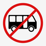 Bus sign icon. Public transport symbol. No bus red sign. Public transport symbol. Flat  stock illustration Royalty Free Stock Photography