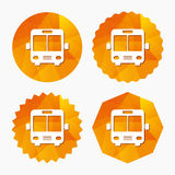 Bus sign icon. Public transport symbol. Triangular low poly buttons with flat icon. Vector Stock Photos