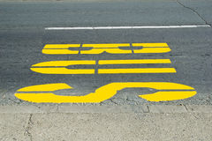 Bus sign painted on road Stock Image