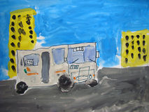 Bus in the sity - painted by child Royalty Free Stock Images