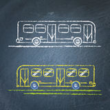 Bus sketch on chalkboard. Vector chalk sketches of bus on blackboard Stock Photography