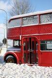 Bus in sneeuw Stock Foto