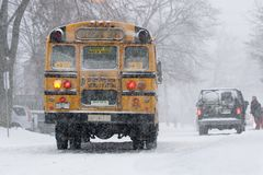 Bus in snow Royalty Free Stock Photo