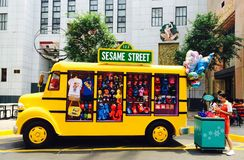 Bus with souvenir on Sesame Street Universal Singapore Stock Photography