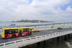 Bus speeding on the yanwu bridge Stock Photos