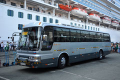 The bus, standing in the port city of Vladivostok, Russia Stock Photos