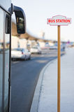 Bus station. Sign with bus ready to go - Public transport Stock Photos