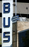 Bus Station. A photograph of a bus station sign taken in Oklahoma City Stock Photography