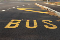 Bus station. Sign on the road Stock Photography