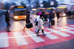 At a bus station Stock Image