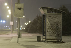 Bus station. Snow-bold bus station at night Stock Photography