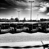 Bus station. Artistic look in black and white. Stock Images