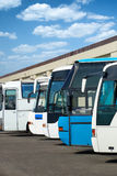 Bus station with autobus Stock Photos