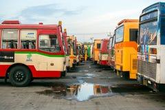 Bus station. BANGKOK,THAILAND,JUNUARY 16 , 2516 : Mochit  Bus Station in Bangkok Thailand in the morning Stock Photos
