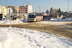 At the bus station in Bulgarian Pomorie, winter Royalty Free Stock Photography