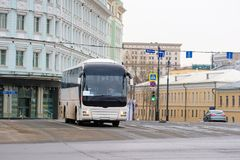 Bus station in the center of Moscow Stock Image