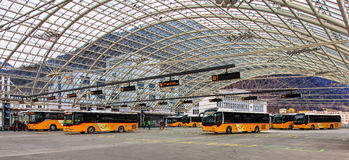 Bus station in the city of Chur in Switzerland Royalty Free Stock Photos