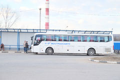 Bus station in the city of Pushchino Stock Photo