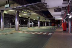 Bus station in city  Udine, Italy at night Royalty Free Stock Image