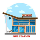 Bus station or depot structure exterior view. Building for travelers by road or passengers with clock on stand platform for arrivals of intercity or city Royalty Free Stock Images