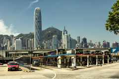 Bus station at feery pier in Hong Kong. The Star Ferry, or The `Star` Ferry Company, is a passenger ferry service operator and tourist attraction in Hong Kong Stock Images
