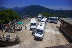 Bus station at high, Corcovado, Brazil. Royalty Free Stock Photo