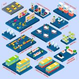 Bus Station Isometric Royalty Free Stock Photos