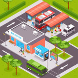 Bus Station Isometric Illustration. Bus station isometric design with  tourists on platforms public transport ticket office and road infrastructure vector Stock Photos