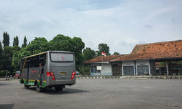 A bus at the station in Jogja, Indonesia.  Royalty Free Stock Photos