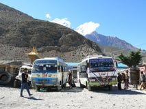 Bus station in Jomson, view to Nilgiri, Nepal Royalty Free Stock Photography