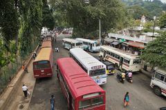 Bus station in Kandy royalty free stock photos