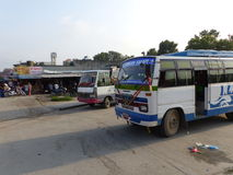 Bus Station in Kathmandu, The Streets of Thamel Stock Images